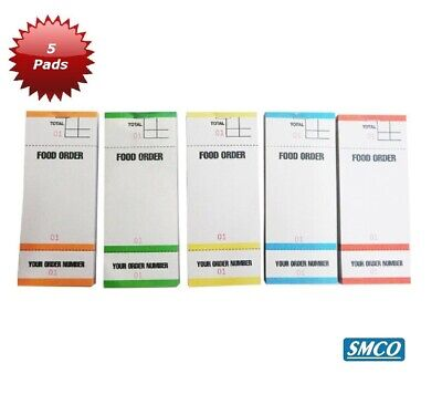 5 Food Order Pads Numbered 1-100 Coloured Bar Restaurant Waiter Book Pads BF84