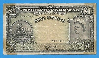 1953 Bahamas Government 1 One Pound Note P-15a
