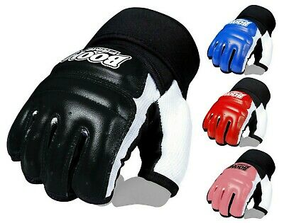 BOOM Leather Body Combat GEL Gloves MMA Boxing Punch Bag Martial Arts UFC Mitts
