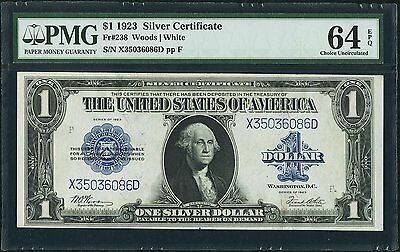 $1 1923 Silver Certificate PMG Choice Uncirculated 64 EPQ, Woods & White -Large