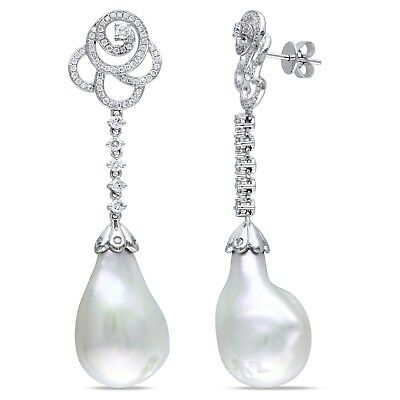 14k Gold Cultured Freshwater Pearl and 1 Ct TDW Diamond Earrings G-H SI1-SI2