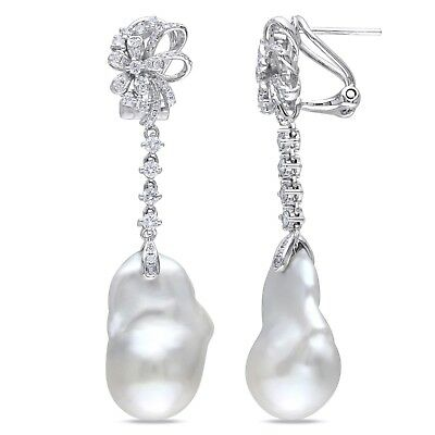 14k White Gold Cultured Freshwater Pearl and 3/4 Ct TDW Diamond Earrings G-H SI1