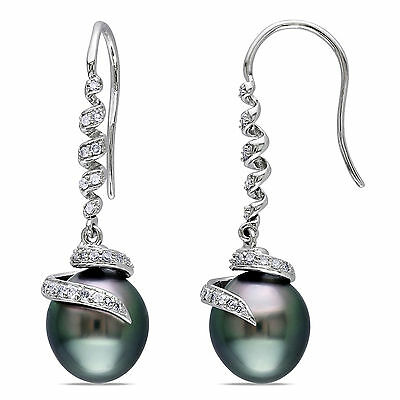 Amour 14k White Gold Tahitian Pearl and 1/5 Ct TDW Diamond Earrings G-H I1-I2