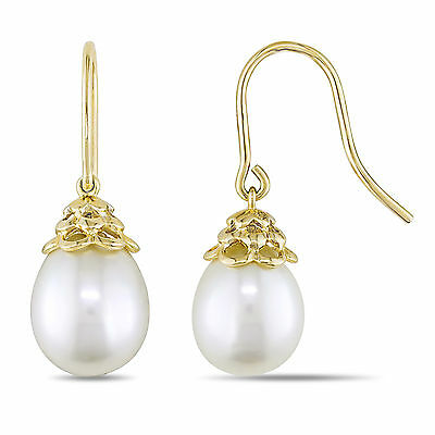 Amour 14k Yellow Gold White Cultured Freshwater Pearl Drop Earrings 9-10 mm
