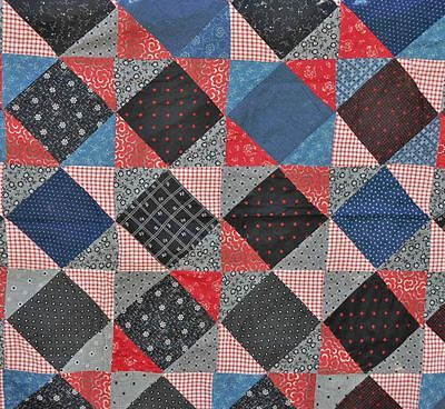 1880-1910 LOVELY BROKEN SASH or ALAMANIZER ANTIQUE VINTAGE QUILT TOP - GRAPHIC!