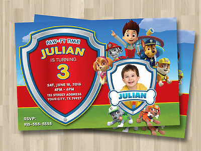 Paw Patrol  Personalized Invitation  D3 - Self Print