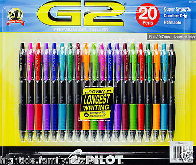 Pilot G2 Premium Gel Roller Super Smooth Fine 0.7mm Assorted Ink Colors, 20 Pens