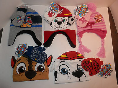 NEW Paw Patrol Hat Glove Mitten Set Marshall Chase Skye Dog Puppy Beanie