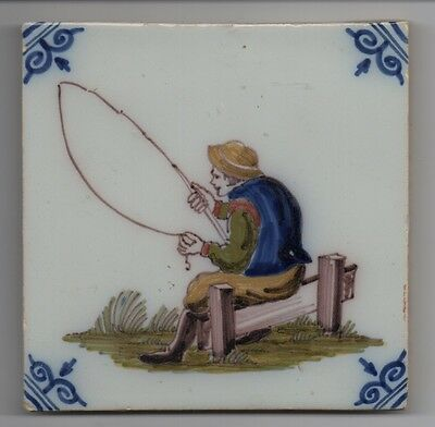 Wonderful Antique Ceramic Glazed Tile of Man Fishing Stamped HF with Crown
