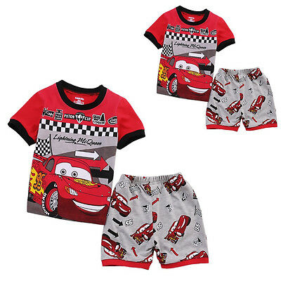 Nwt Cartoon Cars Baby Kids Boys Clothes Tops T-shirt Shorts Outfits Set Sz 1-7T