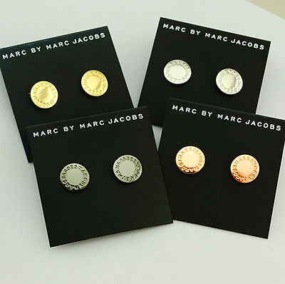 Hot Sale Marc By Marc Jacobs 4Colors Disc Round Letters Stud Earrings