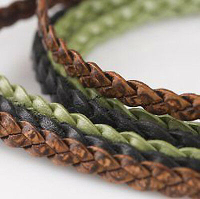 5mm Flat Braided Cord, Craft Leather, Jewelry, Bracelet, Edging, Trim