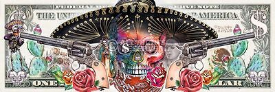 WILD WEST SKULL - DOLLAR BILL DOOR POSTER (53x158cm)  NEW WALL ART
