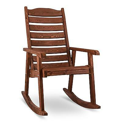 Blumfeldt Alabama Wooden Rocking Chair Garden Furniture Brown Hardwood Patio
