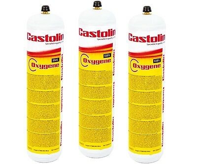 3 X Castolin Eutectic / Oxy Turbo Set Oxygen Replacement Gas Cylinder Bottle