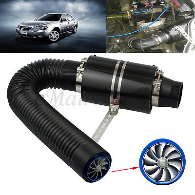 """Universal Car 3"""" Cold Air Filter Feed Induction Intake Pipe Hose Kit Enclosed"""