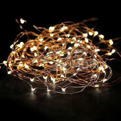 5M 10M Warm White Copper String Lights Battery Powered Christmas Tree Garden