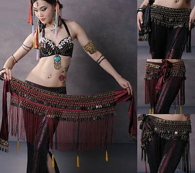 Belly Dance Costume Copper Hip Scarf Tribal Fringe Tassel skirt Dress Belt US AM