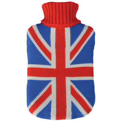 Hot Water Bottle With Knitted Union Jack UK Flag Cover - Great Christmas Gift