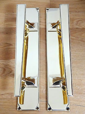 "1st PAIR LARGE 14"" BRASS ART DECO DOOR PULL HANDLES KNOBS PLATES FINGER PUSH"