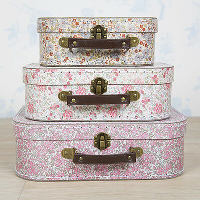 Vintage Suitcases Set of 3 Storage Boxes - Vintage Floral