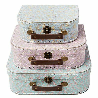 Vintage Suitcases Set of 3 Storage Boxes - Grace Floral