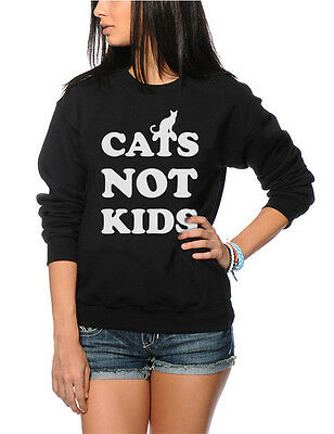 Cats Not Kids - Cat Lover Cat Lady Owner Funny Gift Kids and Youth Sweatshirt
