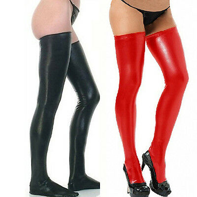 Women Glam Rock Gothic Glitzy High Latex Catsuit Stockings Thongs G-String