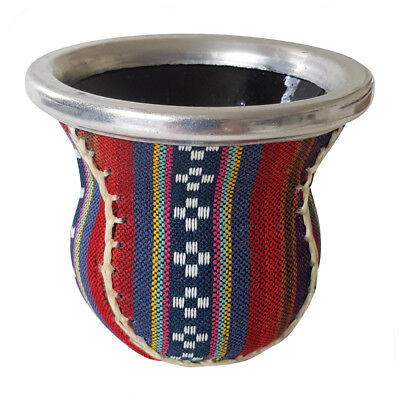 M126 Glass Mate Cup For Yerba Mate Bound In Rainbow Aguayo Textile