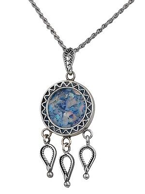 New Sterling Silver Blue Roman Glass Pendant Nice Round Drops Filigree Necklace