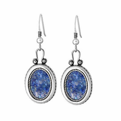 Beautiful New Sterling Silver Jewelry Roman Glass Earrings Unique Oval Design