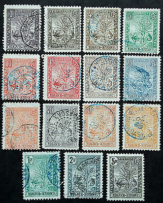 Timbre MADAGASCAR Stamp (French Colonie Française) YT n°63 à 77 Obl (Col3)