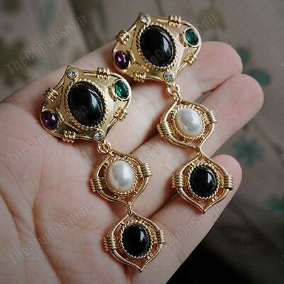 CLIP ON RETRO 7cm long EARRINGS big GOLD FASHION jewelled clips CHUNKY vintage