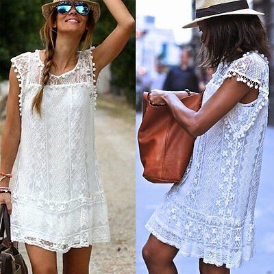 Fashion Women Casual Lace Sleeveless Evening Party Cocktail Short Mini Dress