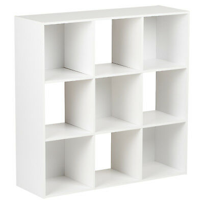 Hartleys White 9 Cube Modular Square Storage/shelving 3 Tier Shelf Display Unit