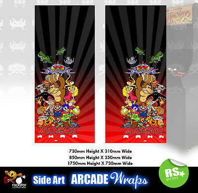 Multigame Red  Arcade Side Artwork Panel Stickers Graphics / Laminated All Sizes