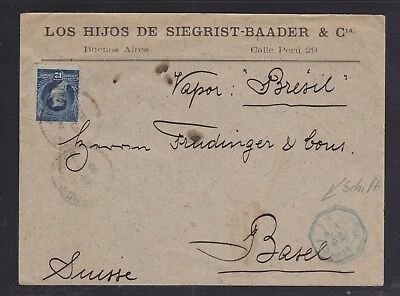 Argentina 1893 'vapor Bresil' Cover Buenos Aires To Basel Switzerland