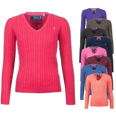 Rydale Ladies Chunky Cable Knit Motif Jumper Women's Knitted V Neck Sweatshirt