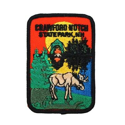 Crawford Notch State Park Patch Travel Badge Moose Embroidered Iron On Applique