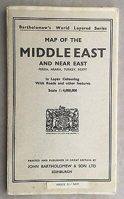 1952-55 Rare Colored Map Middle East J.bartholomew & Son Great Britain