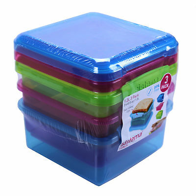 3er Pack Sistema Klip It Lunch Plus 1,2 Liter  Brotboxen Vorratsdose Lunchbox