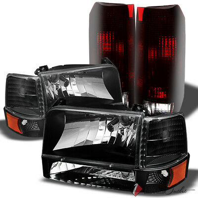 For 92-96 F150/F250, Bronco Black Headlights Set + Smoked Red Tail Lights Combo