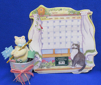 Cat Calendar Customizable Magnetic Write in Dates & Kitten Figurine in Clay Pot