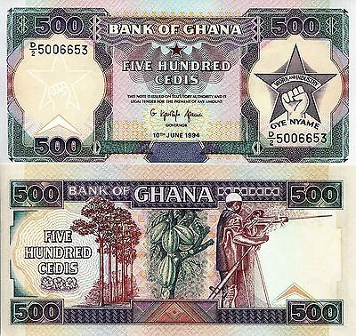 GHANA 500 Cedis Banknote World Paper Money aUNC Currency Bill Pick p28c Note