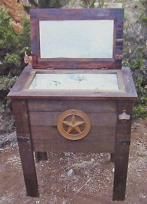 NEW Rustic Wooden 57 Quart Deck Cooler! Wood Patio Pool Party Outdoor Ice Chest