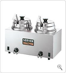 Server 81220 Twin FS Topping Warmer w/ Ladles