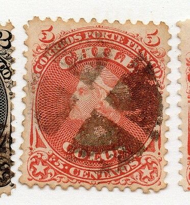 Chile 1867 Early Issue Fine Used 5c. 073606