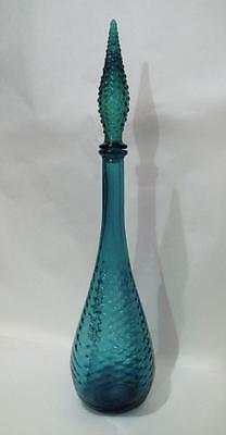 Exquisite Vintage Italian Made Kingfisher Blue Genie Bottle Original Stopper