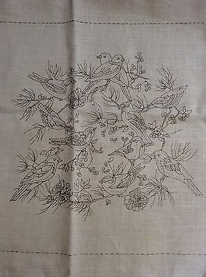 VTG Large Needlepoint Canvas Birds Crewel Embroidery Cotton Canvas Unfinished