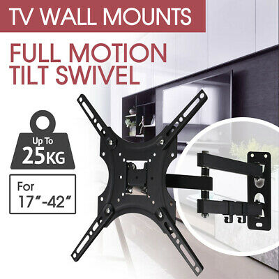TV Wall Mount Bracket Full Motion Tilt Swivel VESA LCD LED 26 32 40 50 55 Inch